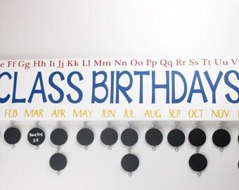 Classroom Birthday Board with Chalkboard Discs - Teacher Birthday Calendar Custom Wooden Sign- Ruler - BDB