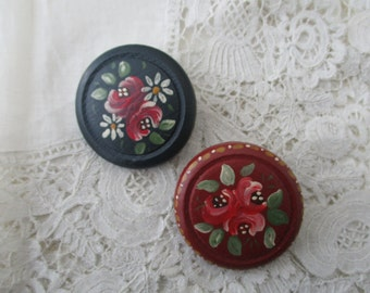Hand painted brooch x 2