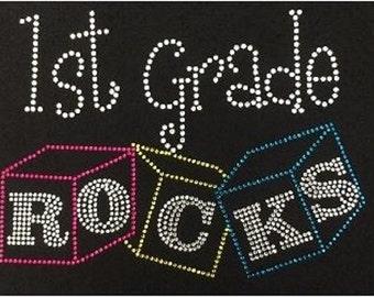 Pre School ,1st,2nd,3rd,4th,5th Grade Rocks Blocks Rhinestone Iron on T Shirt Transfer