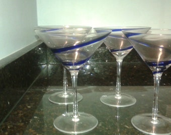 Blue swirl martini glasses