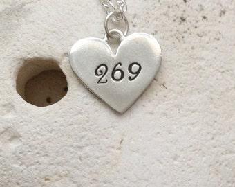 269 vegan heart necklace - 269 life vegan jewellery - jewelry - animal rights jewellery - handstamped pendant