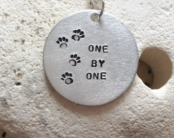 One by one animal adoption necklace - Vegan message necklace - vegan jewellery - jewelry - animal rights jewellery - handstamped