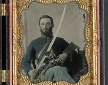 Sier Union cavalry uniform w Colt pistol, Remington, and cavalry saber- Civil War: Old Daguerreotype   . Print