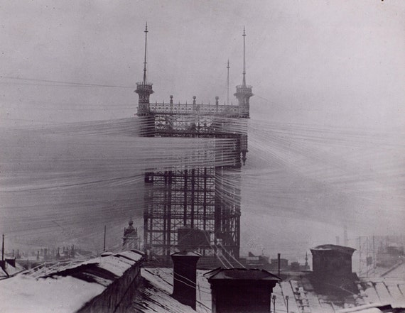 The Telefontornet connected 5,000 phone lines in Stockholm. [1890]- Old Photograph
