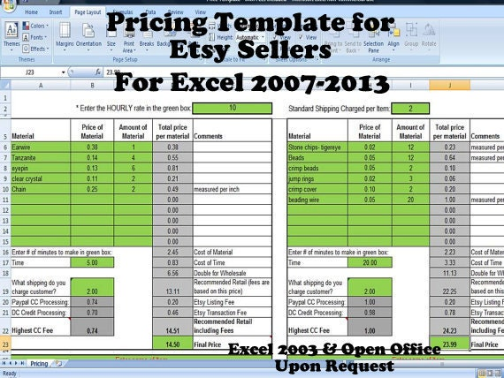 pricing template for etsy sellers excel spreadsheet includes