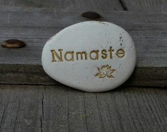 Namaste party favors spa stone, meditation yoga pocket stones, sanskrit word message
