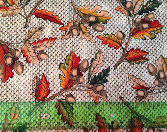 Autumn harvest fabric - thanksgiving fabric - fall fabric - leaf fabric - leaves fabric - acorn fabric - fall fabric by the yard - #1570