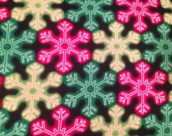 Christmas fabric by the yard - Christmas snowflake fabric by the yard - neon Christmas fabric - #15106