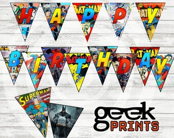 Happy Birthday Banner Batman vs Superman Comic Book Themed
