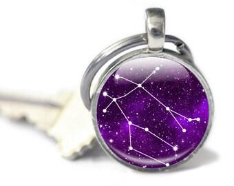 Gemini Keychain - Gemini Star Constellation - Gifts for Gemini - Gemini Keyring (GKG3)