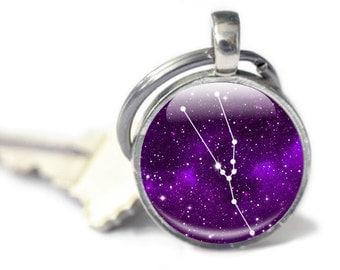 Taurus Constellation Keyring, Taurus Gift Zodiac Keychain