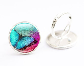 Butterfly Ring - Butterfly Glass Ring - Adjustable Butterfly Ring (BRG23)