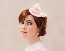 Fascinator bow vintage inspired cocktail hat peach