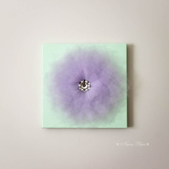 Flower blossom mint and lavender flower home decor shabby for Room decor embellishment art 3d