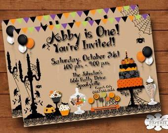halloween invitation, halloween birthday invitation, halloween party dessert invitation, halloween party invite - Digital File DIY PRINTABLE