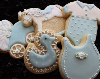 baby shower cookie favors rocking horse cookies carriage cookies baby boy shower