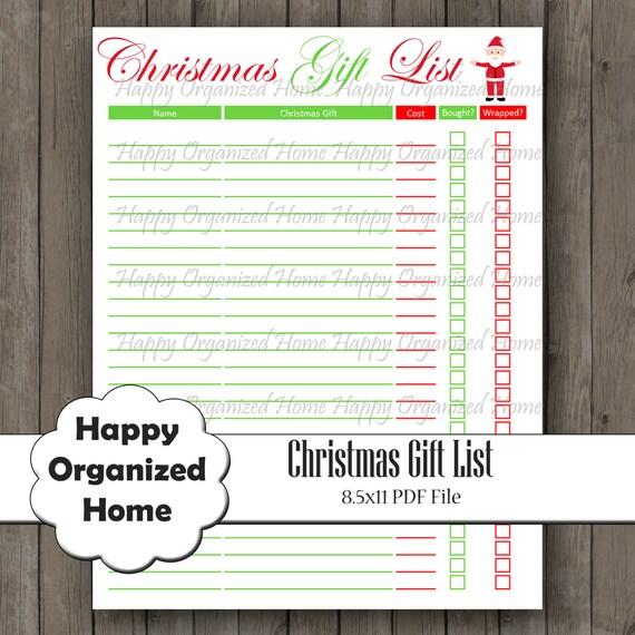 Christmas Gift Planner: Christmas Gift Planner Printable PDF By HappyOrganizedHome