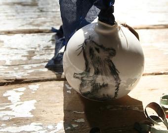 Hand Drawn Rat Ceramic Bauble, Hand Sketched Ceramic Decoration,Gift