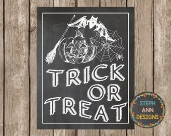 Printable Halloween Sign-8x10-Instant Download-Trick or Treat