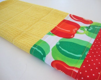 Decorative Kitchen Dish Towels - Fabric Trimmed Hand Towel - Tea Towel - Bath Hand Towel - Yellow Kitchen Towel - Bell Peppers