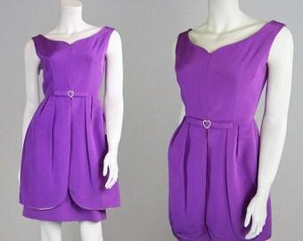 Vintage 60s Mod Dress Wiggle Dress Sheath Dress Purple Dress Party Dress Grosgrain Dress Evening Dress Peplum Dress 1960s Mini Dress Shift