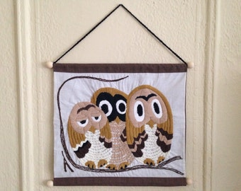 Mid Century Modern Owls Owl Family Hand Made Embroidered Stitched Wall Hanging Decor Art Free Shipping