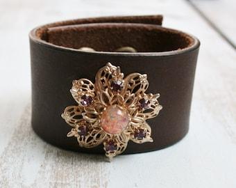 Leather Brooch Cuff, Leather Cuff Bracelet, Repurposed Vintage Jewelry, Vintage Brooch Bracelet, Boho Jewelry
