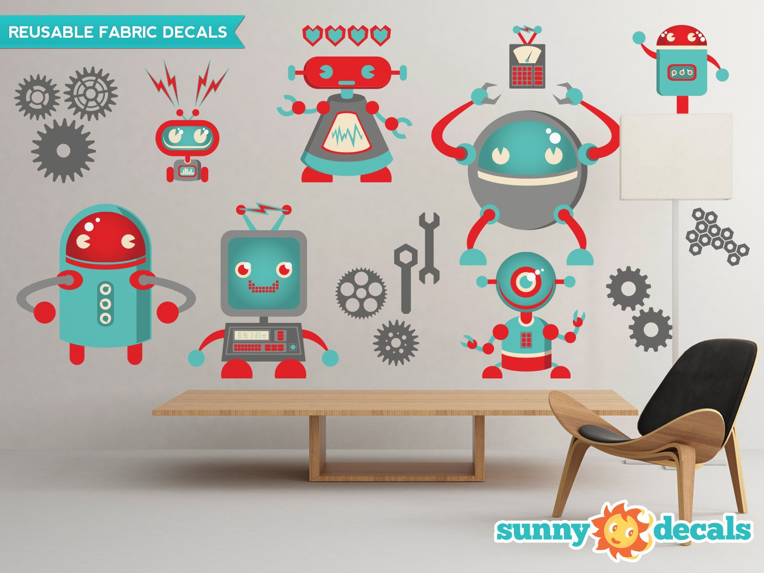 Robots fabric wall decals wall stickers robot theme nursery zoom amipublicfo Choice Image