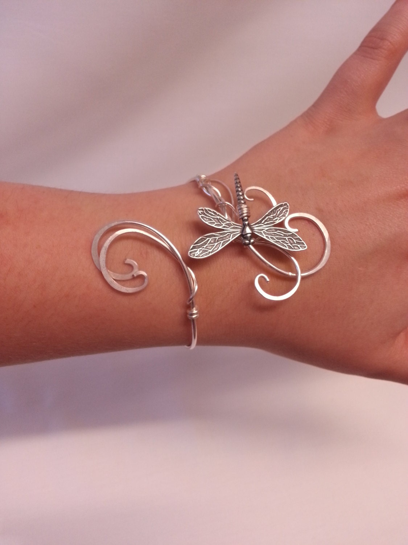 Dragonfly bracelet Silver womens gift cuff wedding elven