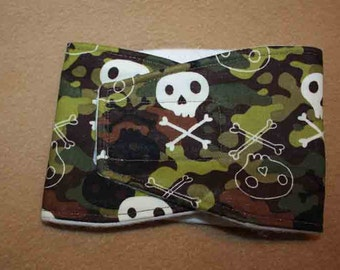 Male Dog Diapers / Belly band / male wrap / Waterproof / CAMO and Skulls print