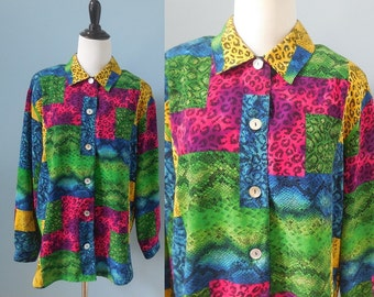 Vintage 80s OVERSIZED SHIRT animal print blouse BRIGHT colored oversize top long sleeve button down shirt womens Medium