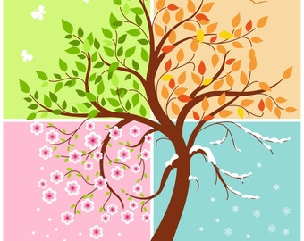 """Cute """"Four Seasons of the year"""" card, digital card, clip-art, printable, card, vector, instant download, vector art, illustration, tree, eps"""
