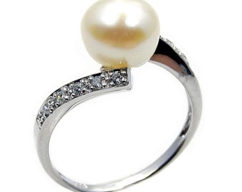 Cute Snowball Pearl Ring Jewelry , CZ Ring & .925 Sterling Silver Ring Size 6 7 9 Engagement Ring Anniversary Ring Bridal Ring