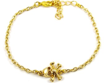 Gold plated skull bracelet - gold mix and match armcandy
