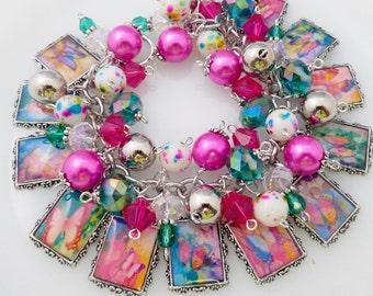 Butterfly Altered Art Charm Bracelet Chunky Beaded Cha Cha Bracelet