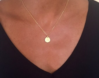 Stamped hammered Initial charm necklace- 14k gold filled- Personalized gift- Mother's day gift