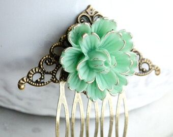 50% off SALE Mint Green Resin Flower filigree hair comb. 2