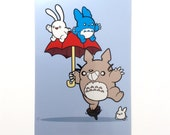 Art Print, Blue Totoro Photographic Print, 6x4 inches
