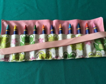 Pink Frogs Crayon Roll