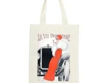 La Vie Parisienne Long Handled Tote bag | Tote shopping bag | Vintage Paris Fashion Bag