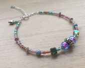 Pinky blue and silver beaded bracelet with heart charm and adjustable clasp, summer bracelet