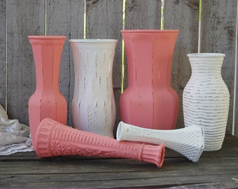 Shabby Chic Vases, Coral, White, Painted Vases, Distressed, Glass, Wedding Decor, Wedding Centerpiece, Rustic, Hand Painted, Set of 6