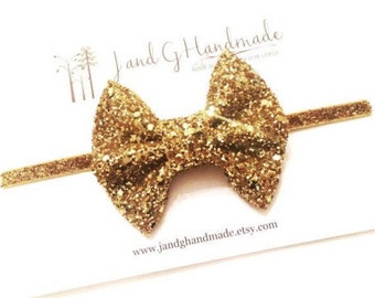 Baby/Child/Girls Gold Glitter Headband/Hair Clip, Baby Hair Bow Headband, Elegant Child Headband, Chunky Gold Glitter Hair Bow, Photo Prop