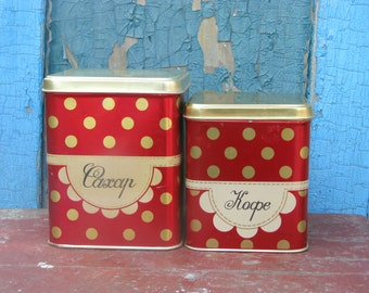 Set of 2 soviet red polka dot vintage metal tin boxes for kitchen - Sugar and coffe tin box - made in USSR