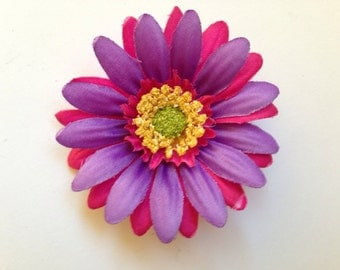 Purple and pink flower hair clip.