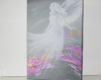 """Angel painting on canvas - print streched on wooden frame: """"fulfillment"""" , abstract wall art, artwork,gift,spiritual,magic,"""
