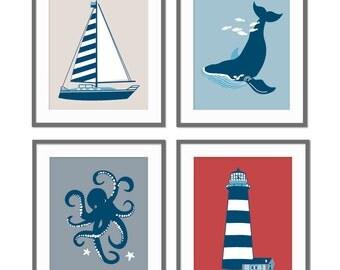 Nautical Nursery Decor, Animal Nursery, Sailing Boat, Octopus, Whale, Baby Boy Nursery, Children's Wall Art, Playroom Art, Boys Bedroom