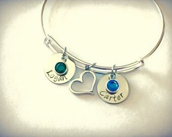 Custom personalized  name bangle with heart and Birthstone crystal on a Silver adjustable Bangle