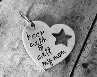 Keep calm & call my mom Pet tag Dog tag / information tag / your info printed on the back / dog tag / animal tag /