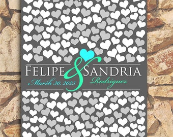 Wedding Guestbook Poster Extra Large | Engagement Gift | Bridal | Dark Gray Personalized | 243 Guest Sign In 20x30 | BRIDAL GIFT POSTER _01